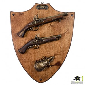Display Plaque With Pistols & Flask