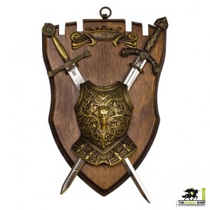 Miniature Chestplate and Swords on Display Plaque