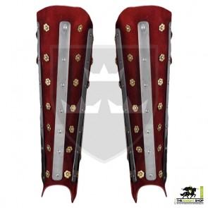 14th Century Reinforced Suede Greaves - Red