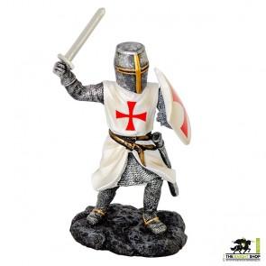 Fighting Templar Knight with Sword Figurine - 18cm